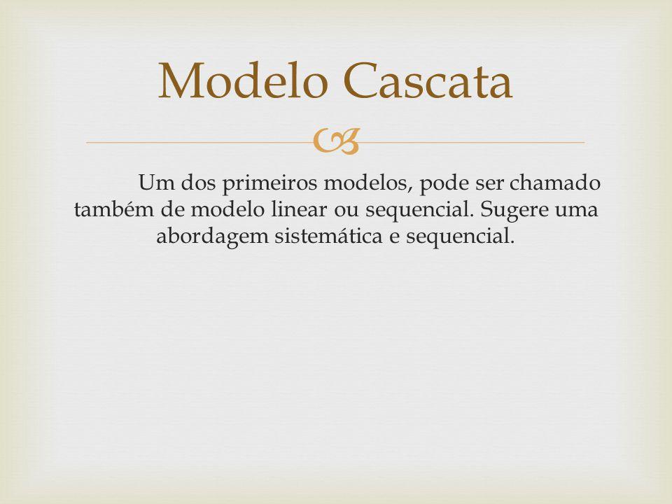 Modelo Cascata Um dos primeiros modelos, pode ser chamado também de modelo linear ou sequencial.