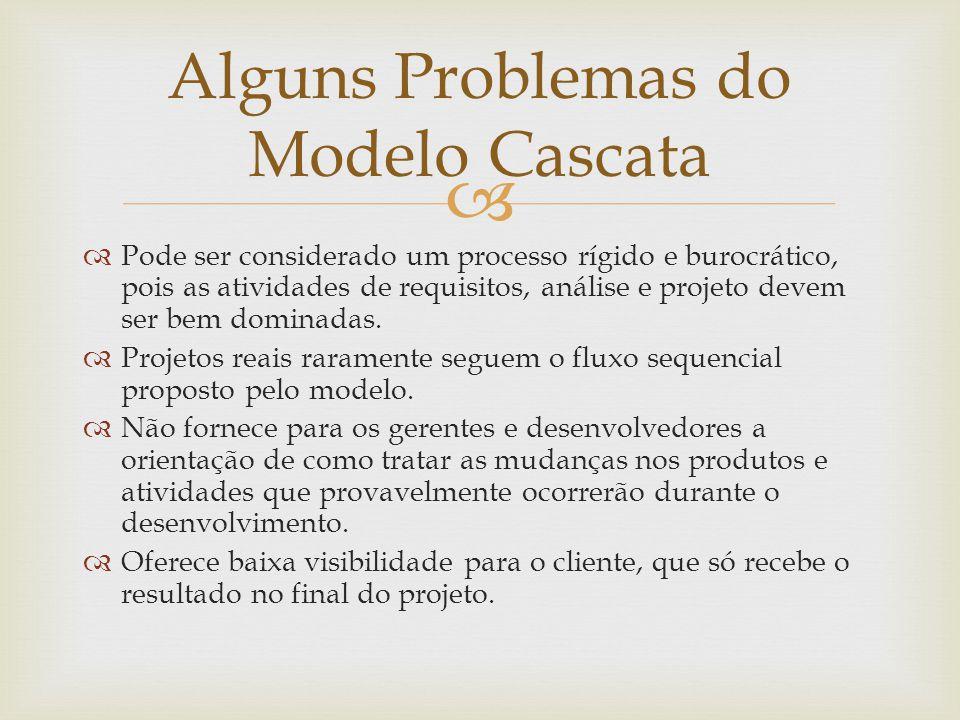 Alguns Problemas do Modelo Cascata
