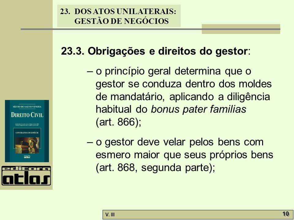 23.3. Obrigações e direitos do gestor:
