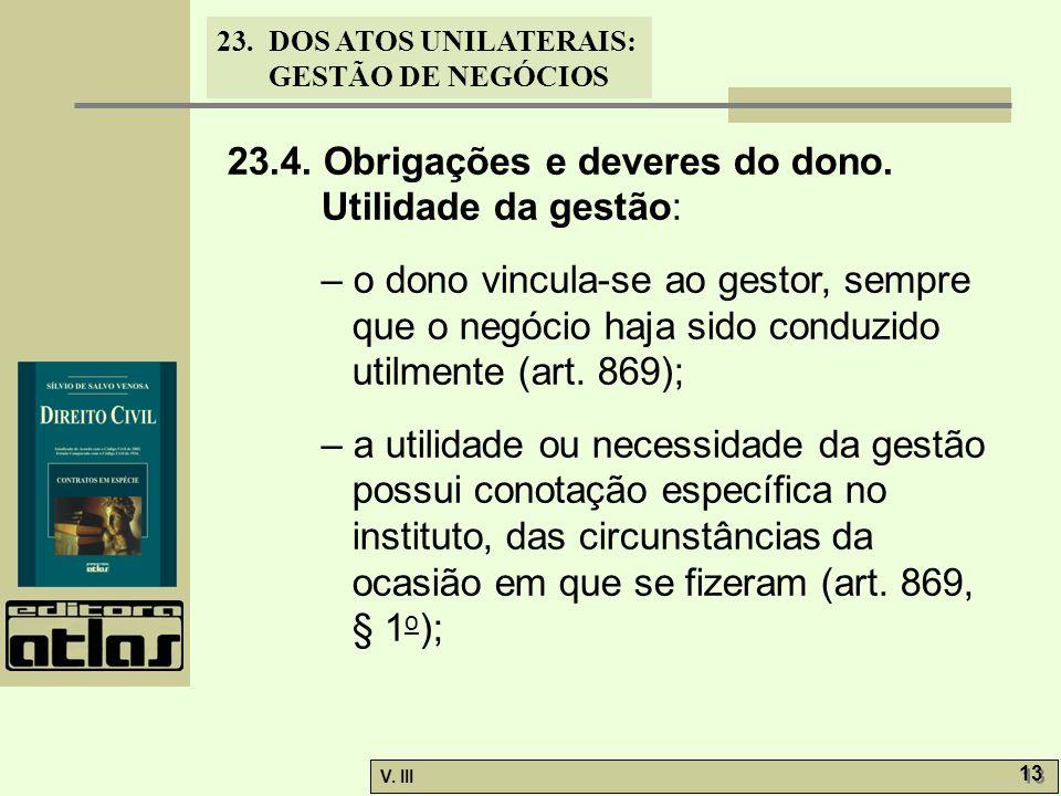 23.4. Obrigações e deveres do dono. Utilidade da gestão: