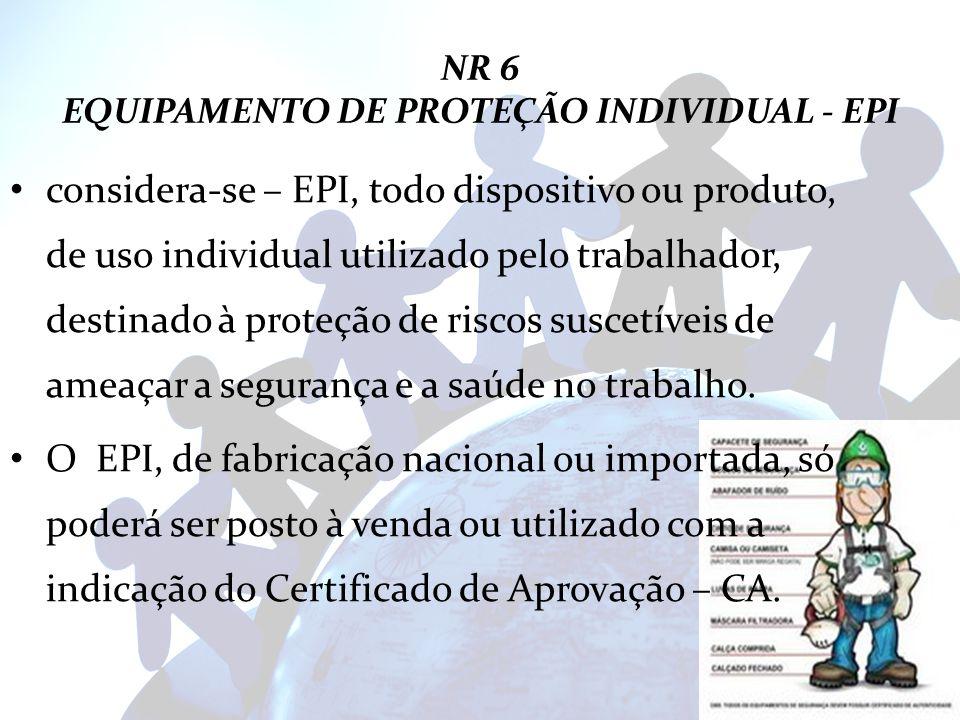 NR 6 EQUIPAMENTO DE PROTEÇÃO INDIVIDUAL - EPI