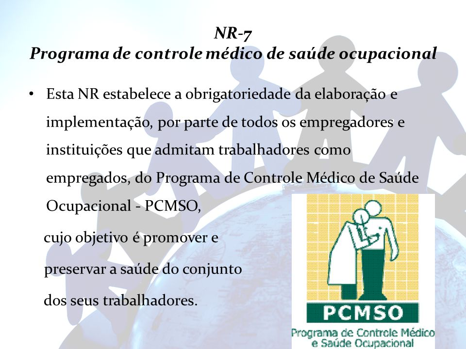 NR-7 Programa de controle médico de saúde ocupacional