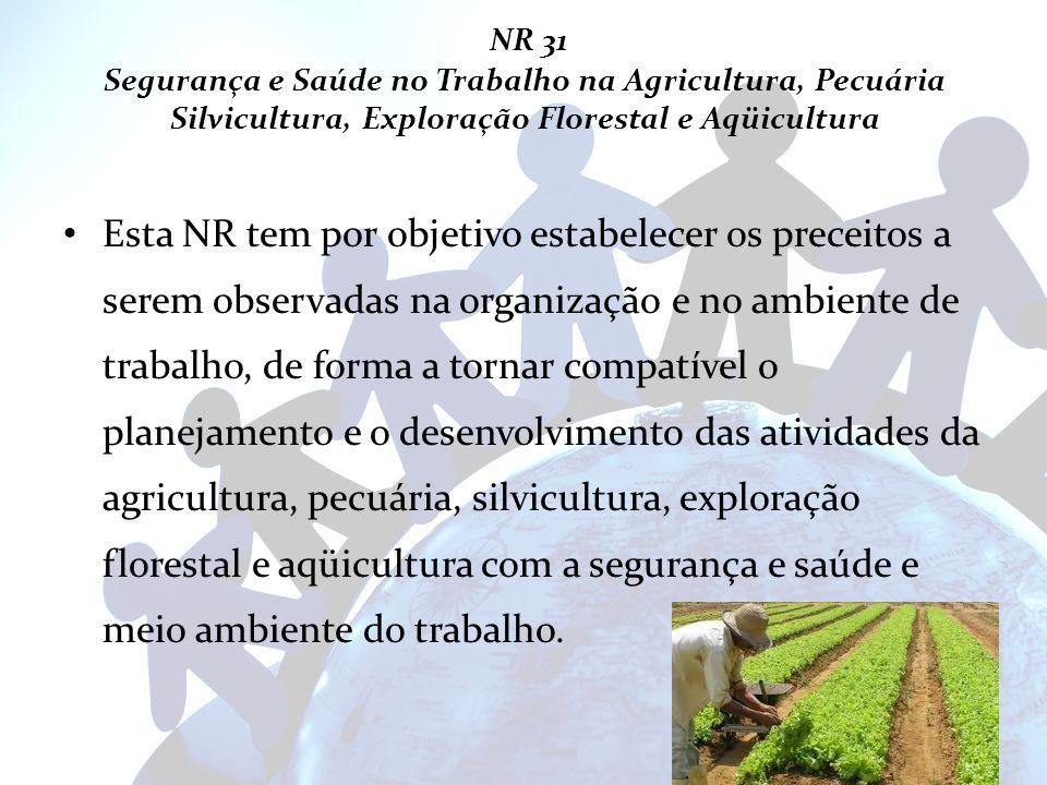 NR 31 Segurança e Saúde no Trabalho na Agricultura, Pecuária Silvicultura, Exploração Florestal e Aqüicultura