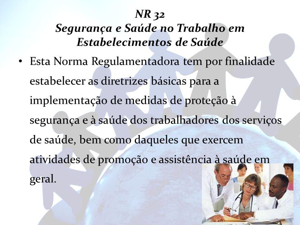 NR 32 Segurança e Saúde no Trabalho em Estabelecimentos de Saúde