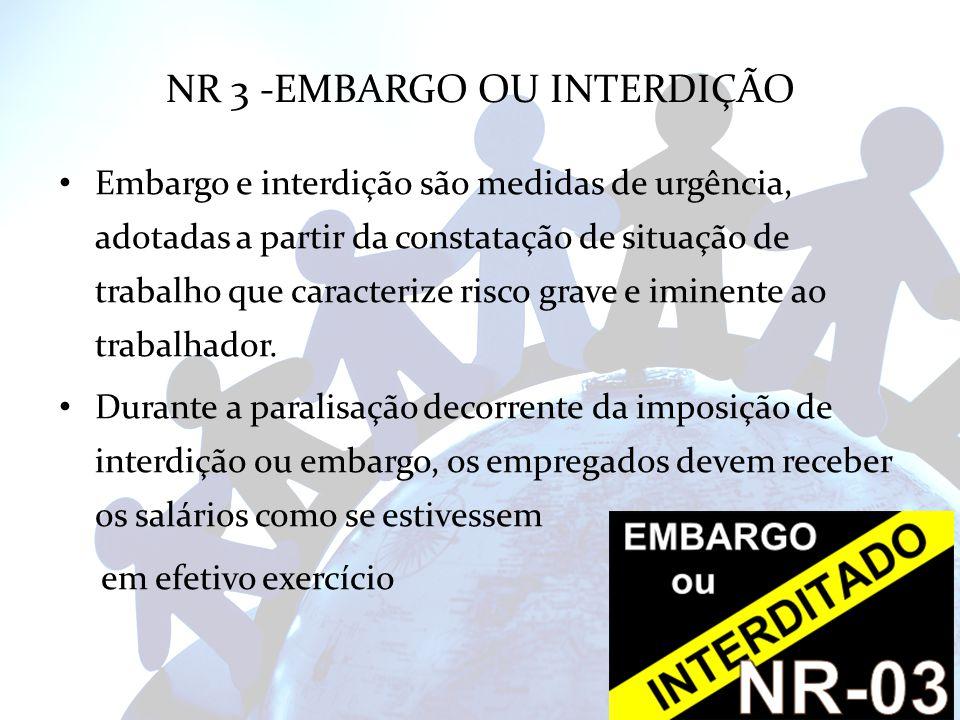 NR 3 -EMBARGO OU INTERDIÇÃO