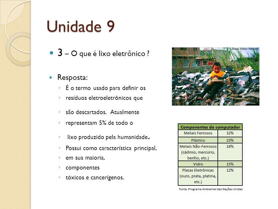 Unidade 9 3 – O que é lixo eletrônico Resposta: