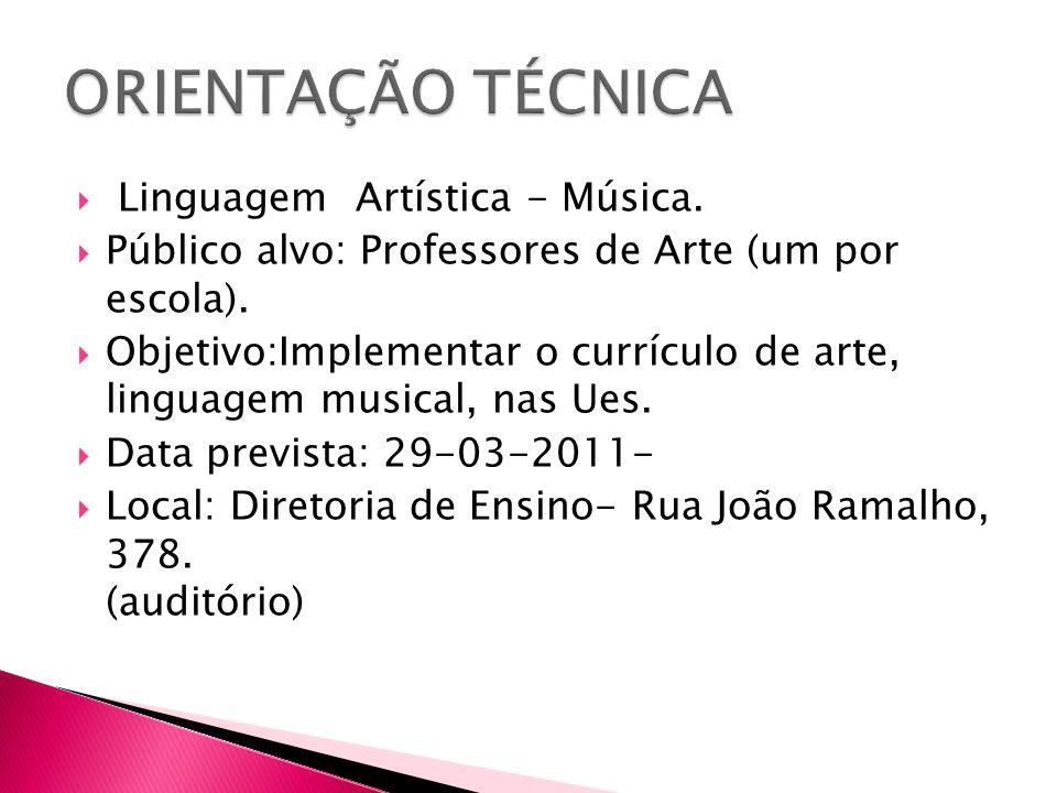 ORIENTAÇÃO TÉCNICA Linguagem Artística - Música.