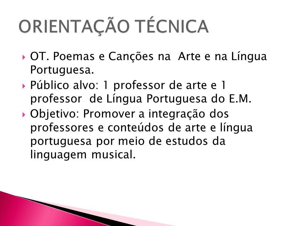ORIENTAÇÃO TÉCNICA OT. Poemas e Canções na Arte e na Língua Portuguesa.