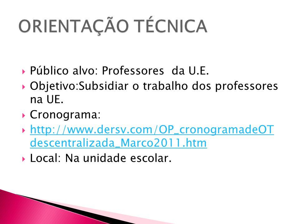 ORIENTAÇÃO TÉCNICA Público alvo: Professores da U.E.
