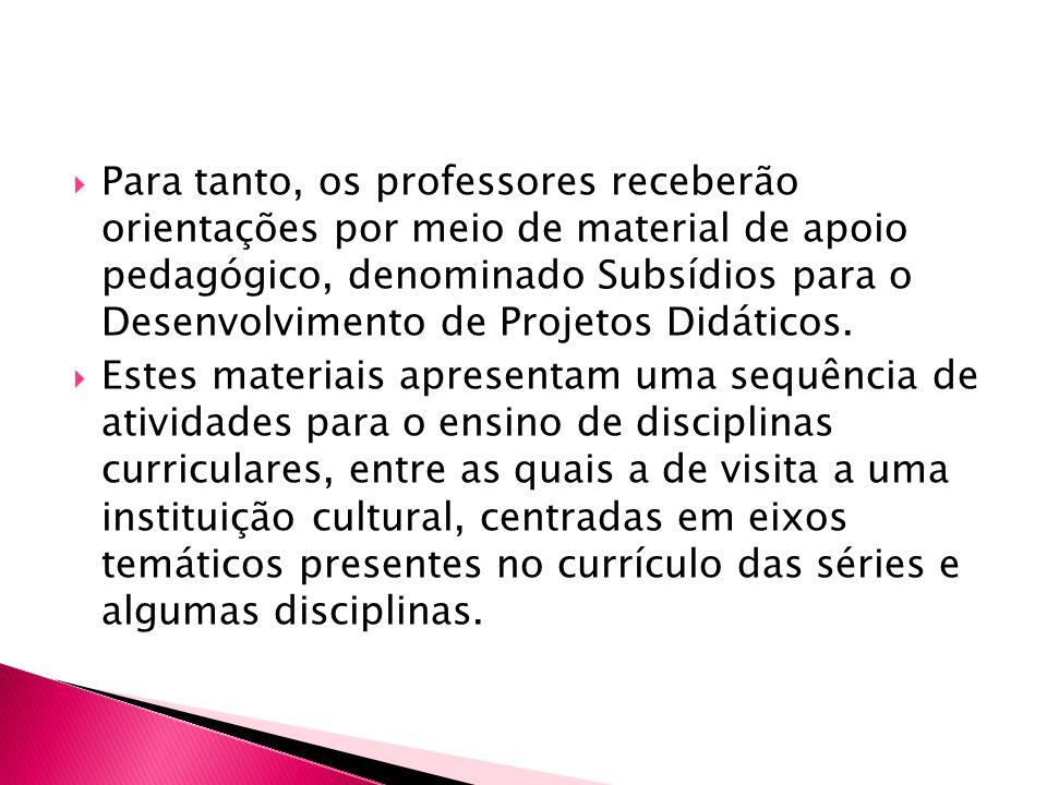 Para tanto, os professores receberão orientações por meio de material de apoio pedagógico, denominado Subsídios para o Desenvolvimento de Projetos Didáticos.