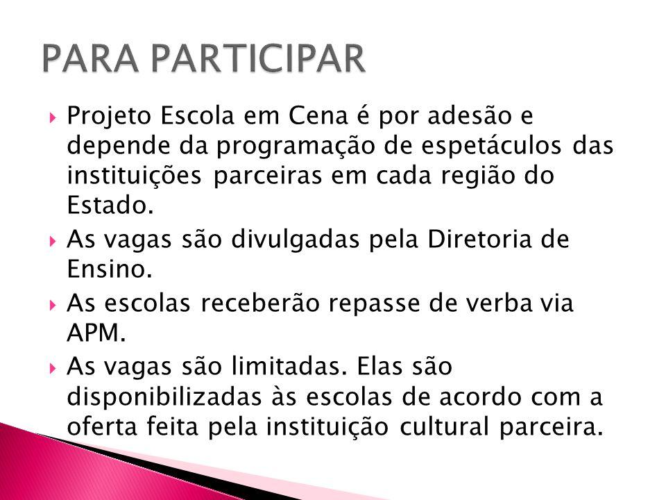PARA PARTICIPAR Projeto Escola em Cena é por adesão e depende da programação de espetáculos das instituições parceiras em cada região do Estado.