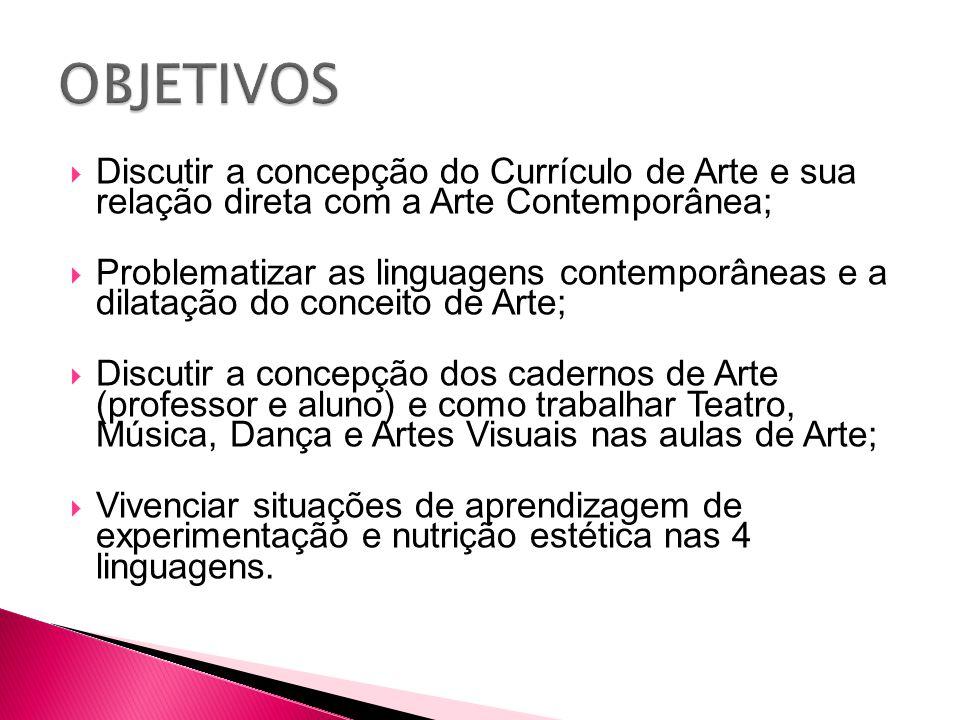 OBJETIVOS Discutir a concepção do Currículo de Arte e sua relação direta com a Arte Contemporânea;