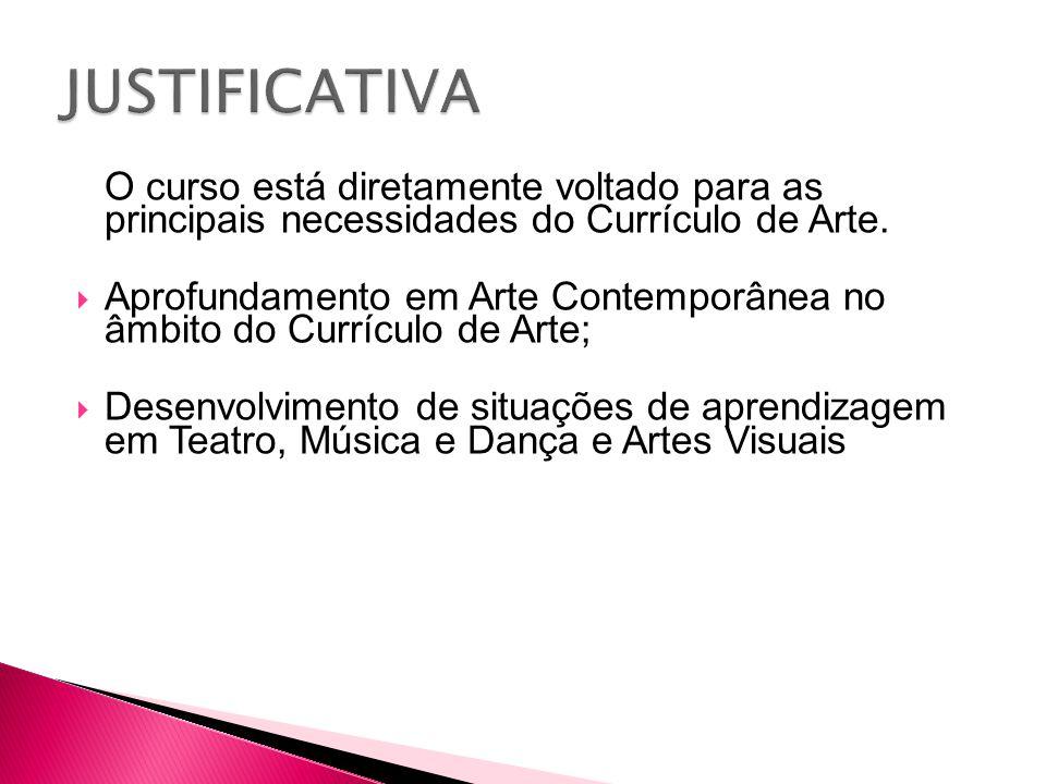 JUSTIFICATIVA O curso está diretamente voltado para as principais necessidades do Currículo de Arte.