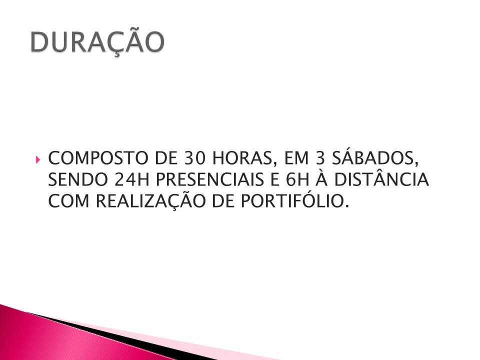 DURAÇÃO COMPOSTO DE 30 HORAS, EM 3 SÁBADOS, SENDO 24H PRESENCIAIS E 6H À DISTÂNCIA COM REALIZAÇÃO DE PORTIFÓLIO.