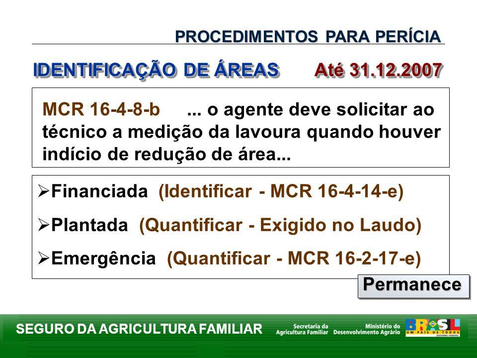 IDENTIFICAÇÃO DE ÁREAS Até 31.12.2007