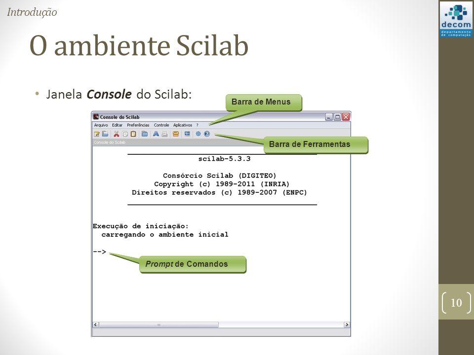 O ambiente Scilab Janela Console do Scilab: Introdução Barra de Menus