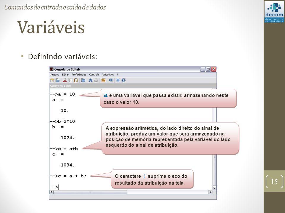 Variáveis Definindo variáveis: Comandos de entrada e saída de dados