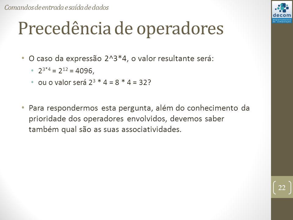 Precedência de operadores