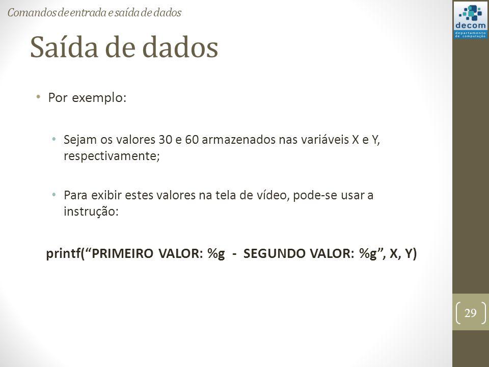 printf( PRIMEIRO VALOR: %g - SEGUNDO VALOR: %g , X, Y)