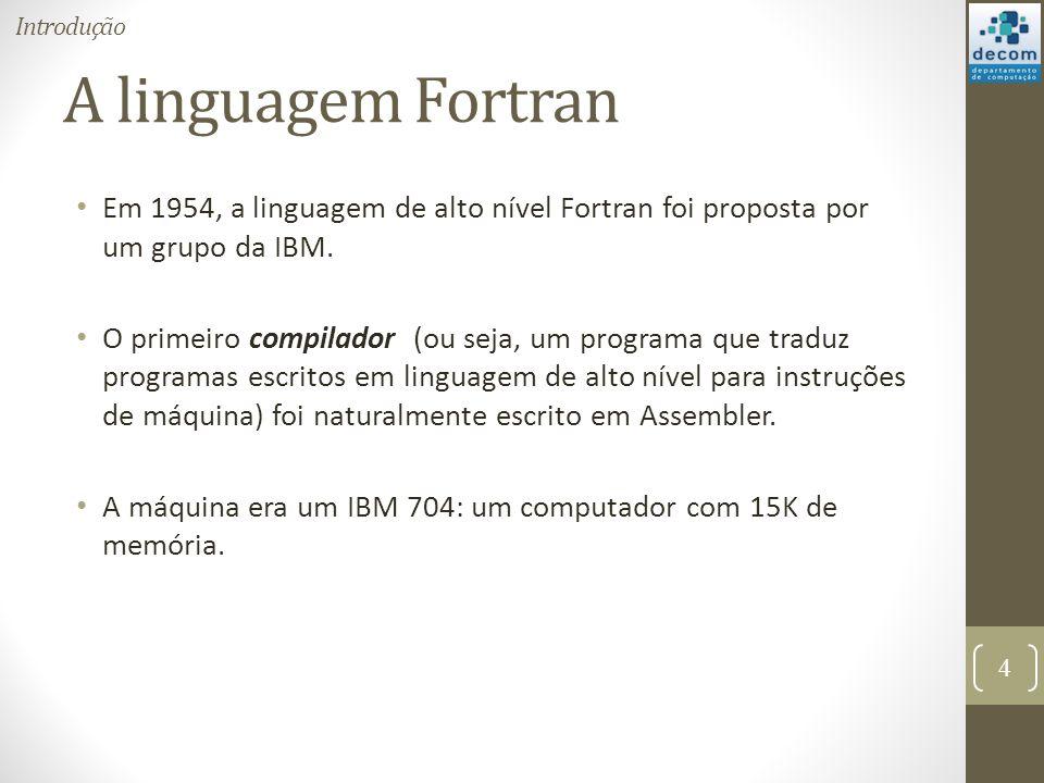 Introdução A linguagem Fortran. Em 1954, a linguagem de alto nível Fortran foi proposta por um grupo da IBM.