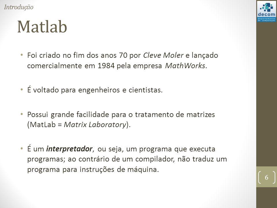 Introdução Matlab. Foi criado no fim dos anos 70 por Cleve Moler e lançado comercialmente em 1984 pela empresa MathWorks.