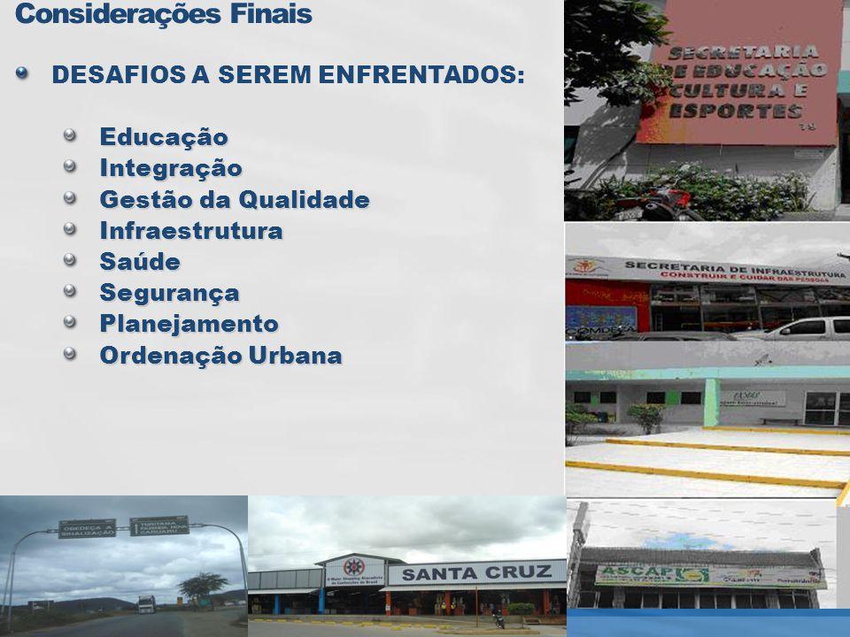 Considerações Finais DESAFIOS A SEREM ENFRENTADOS: Educação Integração