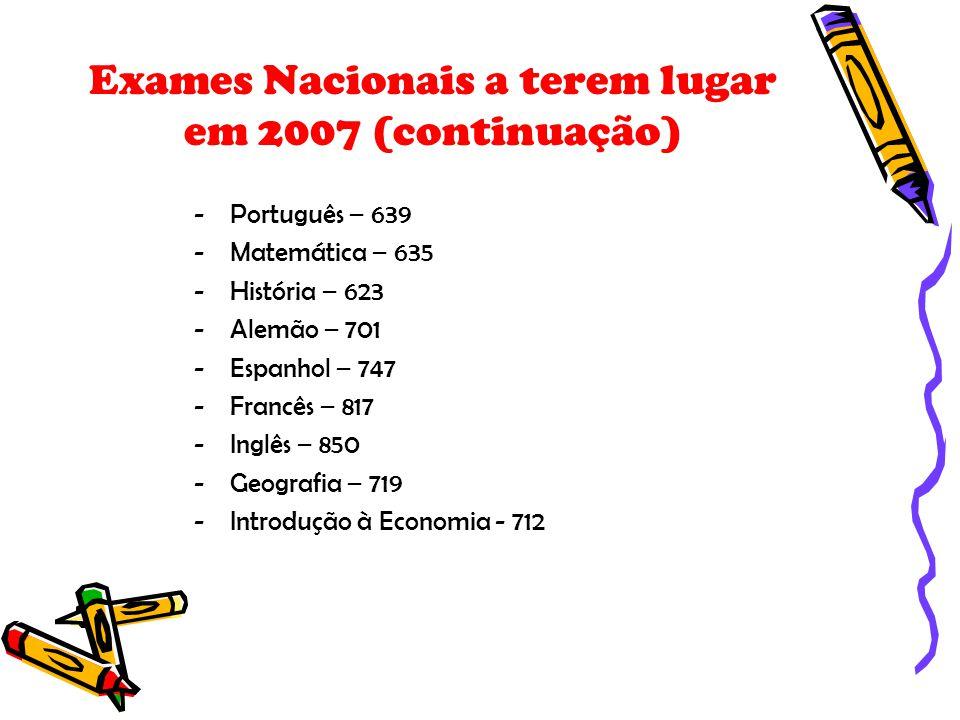 Exames Nacionais a terem lugar em 2007 (continuação)