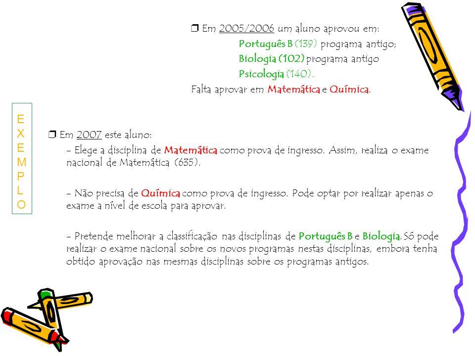 EXEMPLO ❐ Em 2005/2006 um aluno aprovou em: