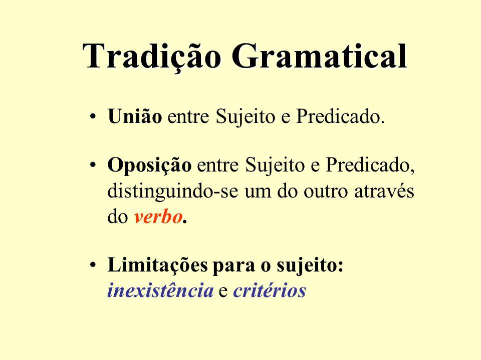 Tradição Gramatical União entre Sujeito e Predicado.