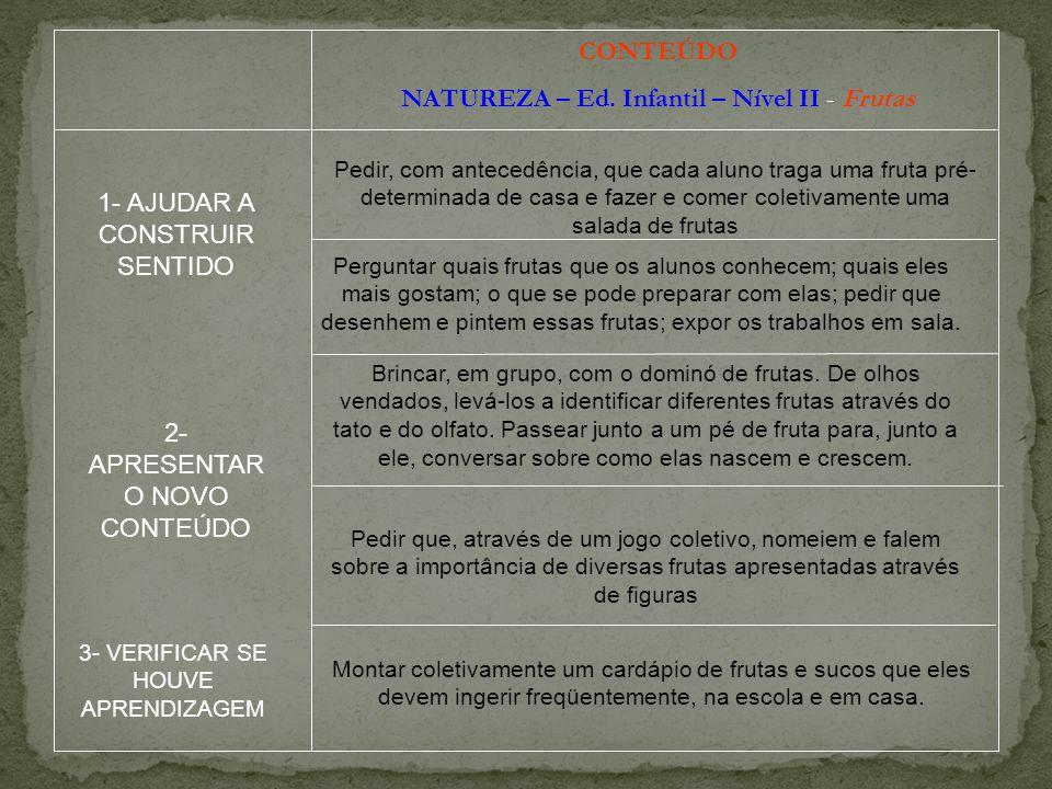 NATUREZA – Ed. Infantil – Nível II - Frutas