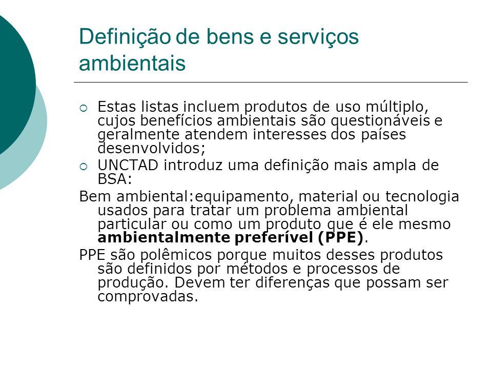 Definição de bens e serviços ambientais