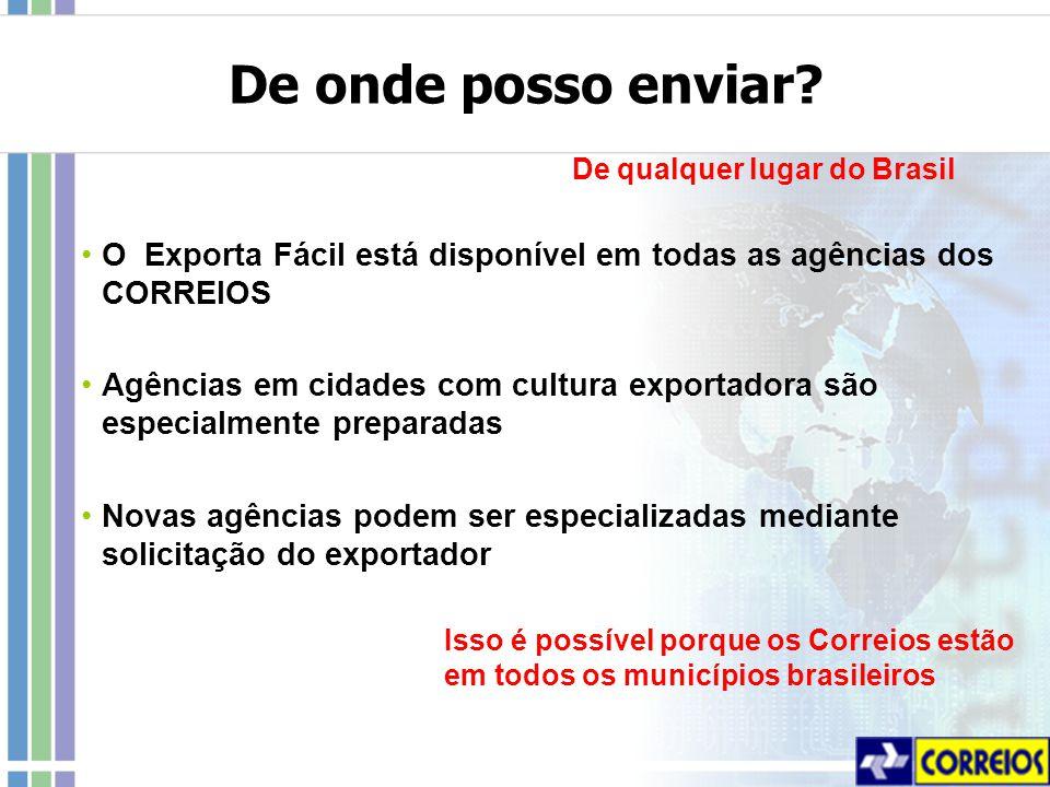 De onde posso enviar De qualquer lugar do Brasil. O Exporta Fácil está disponível em todas as agências dos CORREIOS.