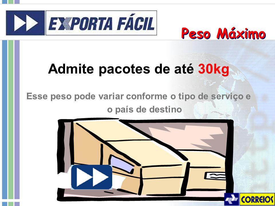Admite pacotes de até 30kg