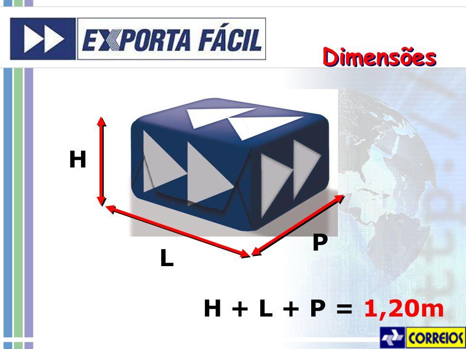 Dimensões H P L H + L + P = 1,20m