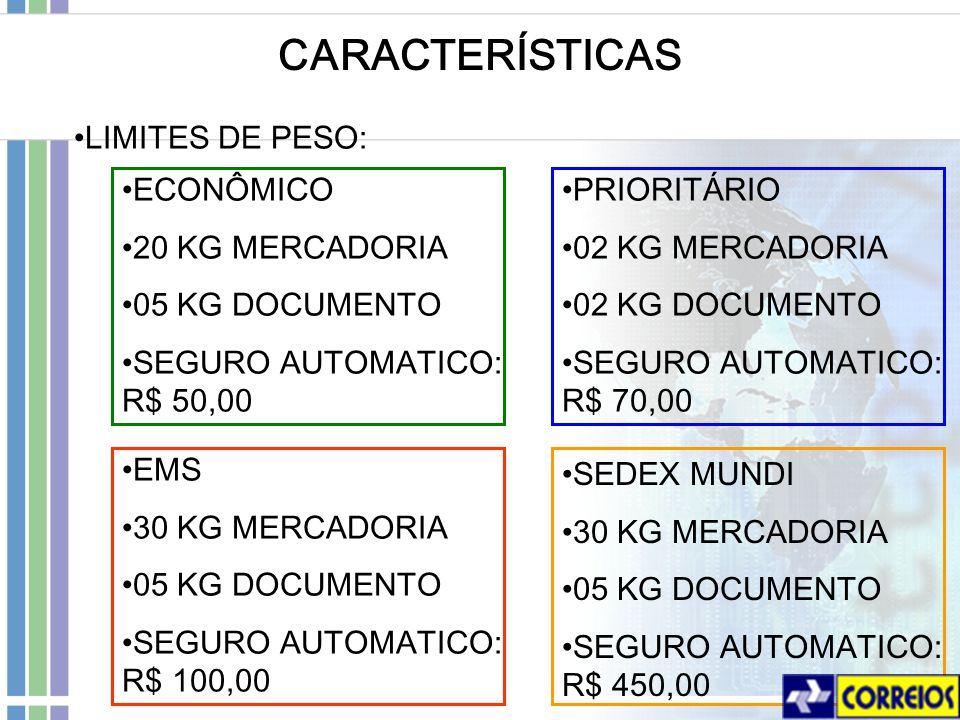 CARACTERÍSTICAS LIMITES DE PESO: ECONÔMICO 20 KG MERCADORIA