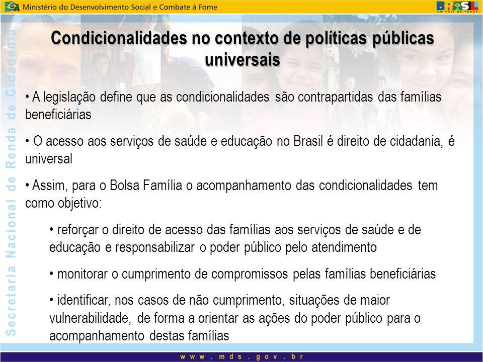 Condicionalidades no contexto de políticas públicas universais