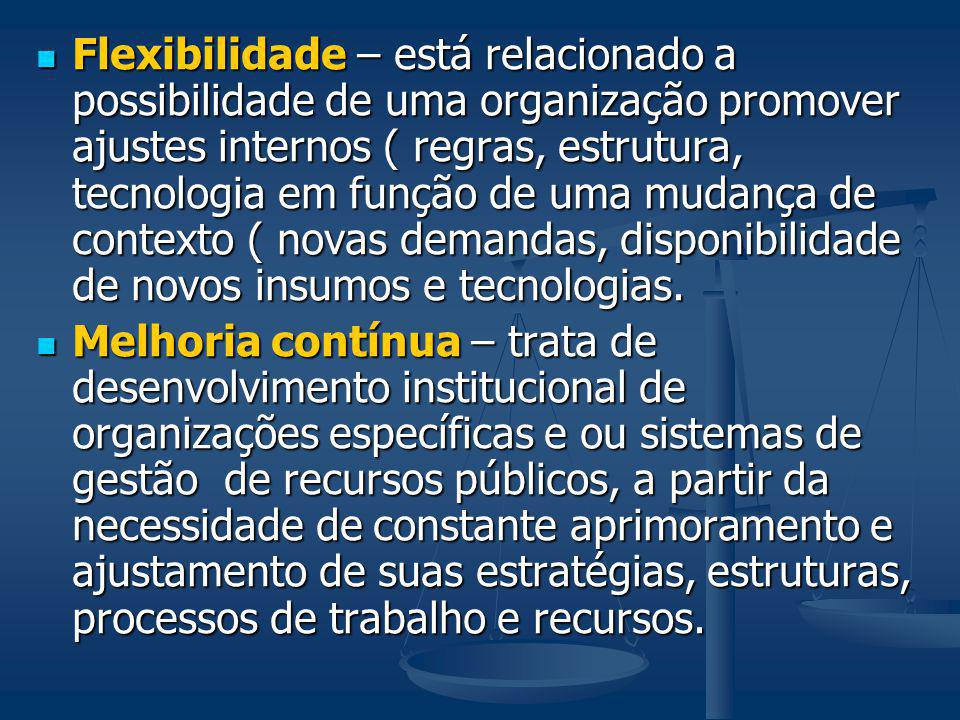 Flexibilidade – está relacionado a possibilidade de uma organização promover ajustes internos ( regras, estrutura, tecnologia em função de uma mudança de contexto ( novas demandas, disponibilidade de novos insumos e tecnologias.