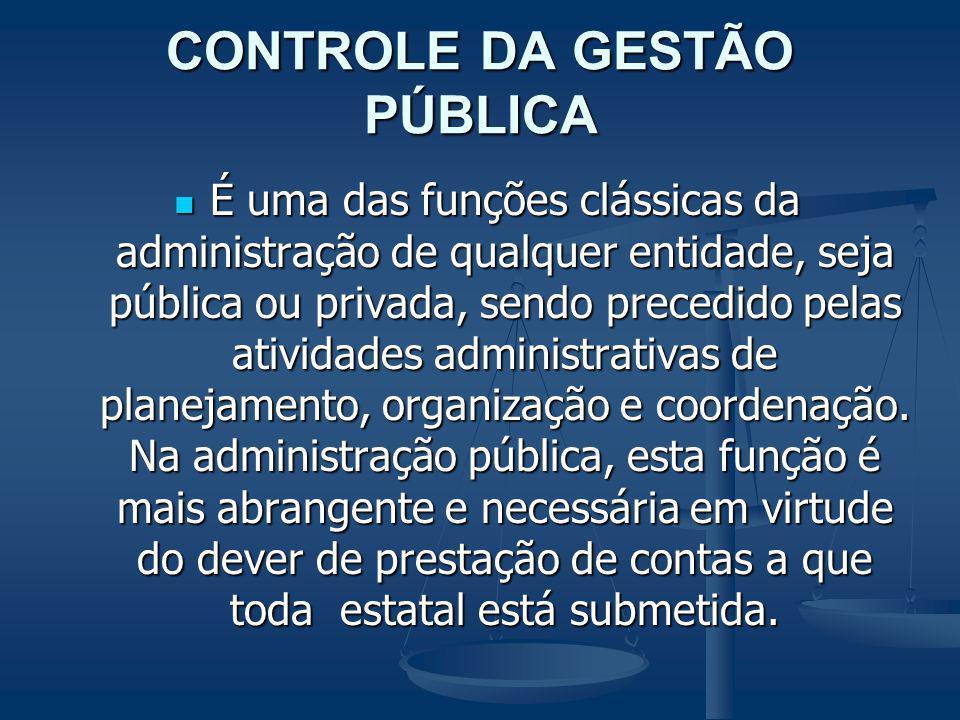 CONTROLE DA GESTÃO PÚBLICA