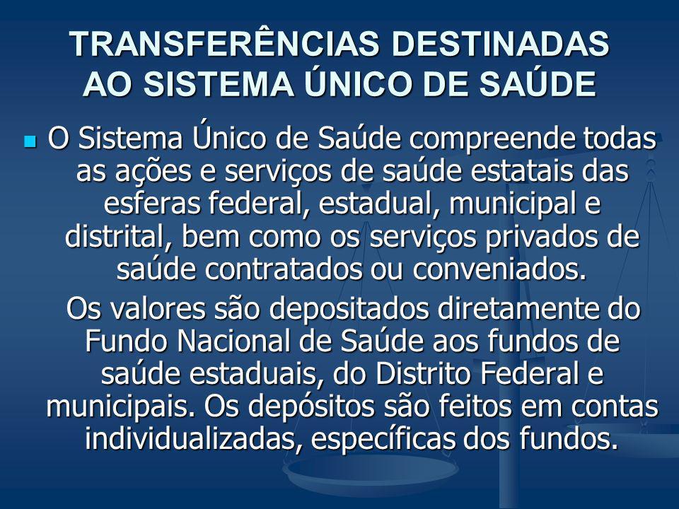TRANSFERÊNCIAS DESTINADAS AO SISTEMA ÚNICO DE SAÚDE