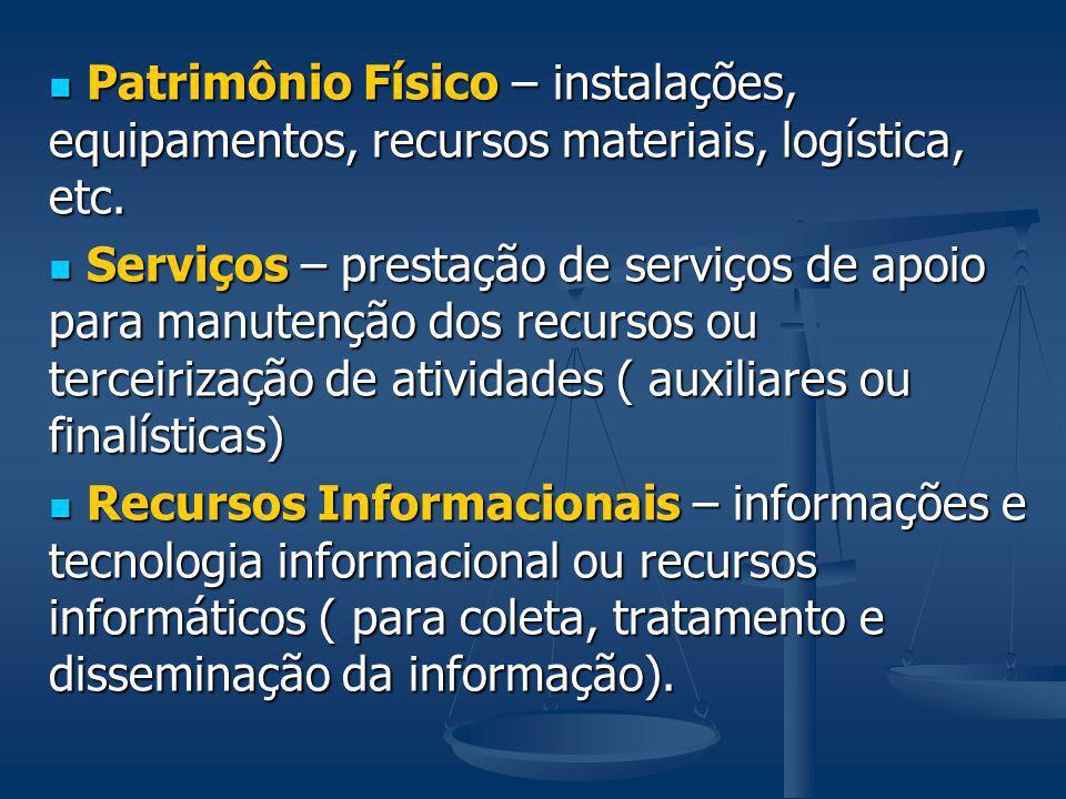 Patrimônio Físico – instalações, equipamentos, recursos materiais, logística, etc.