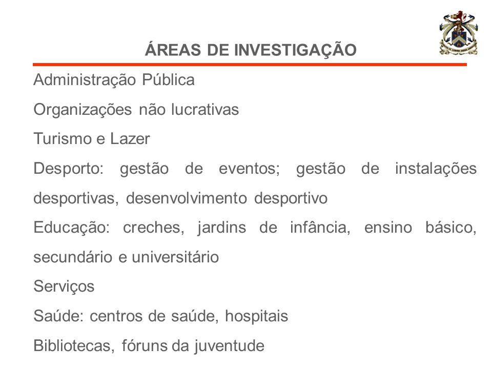 ÁREAS DE INVESTIGAÇÃO Administração Pública. Organizações não lucrativas. Turismo e Lazer.