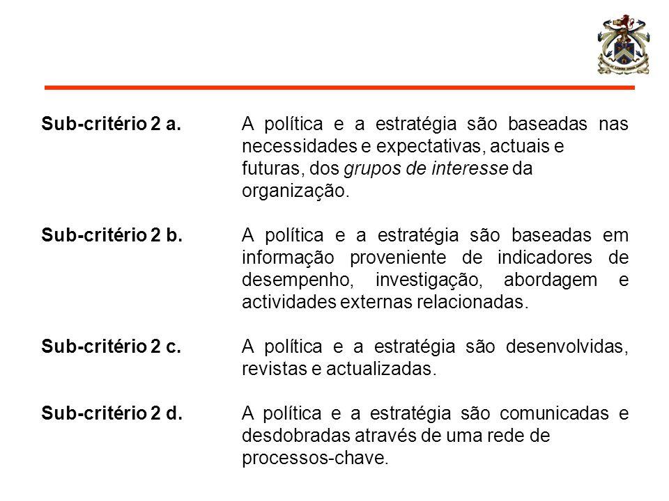 Sub-critério 2 a. A política e a estratégia são baseadas nas