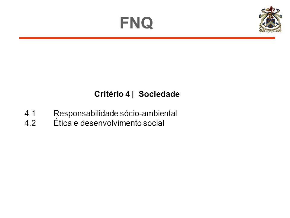 FNQ Critério 4 | Sociedade 4.1 Responsabilidade sócio-ambiental