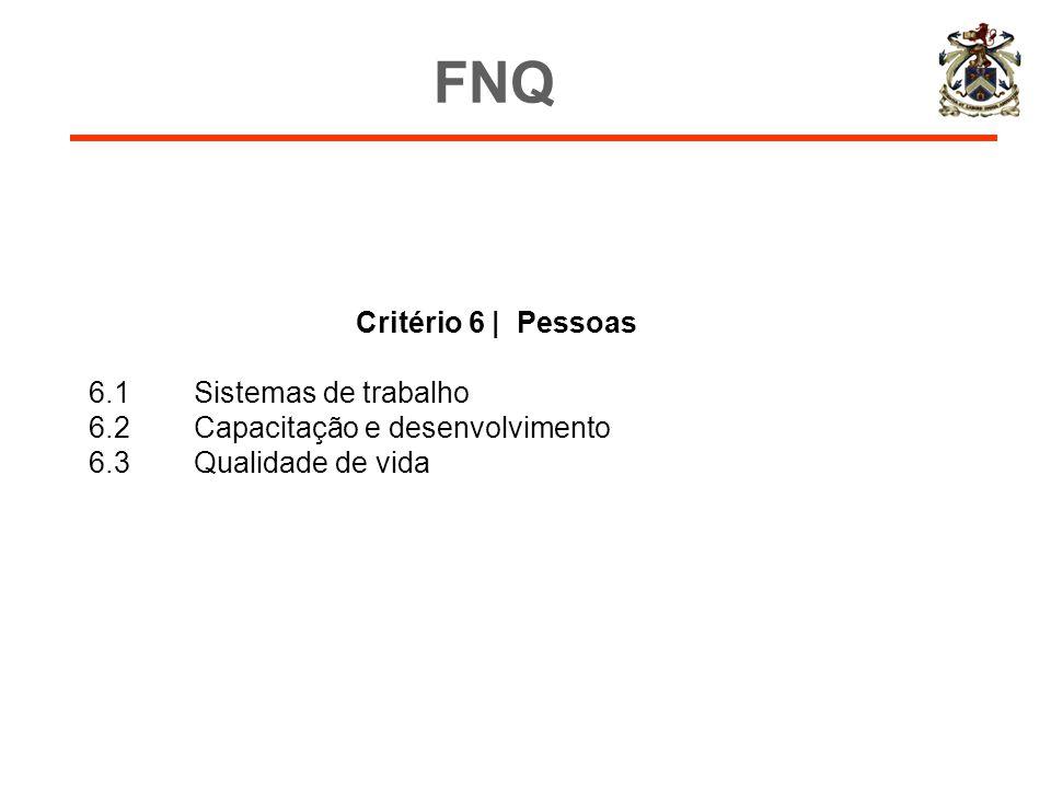 FNQ Critério 6 | Pessoas 6.1 Sistemas de trabalho