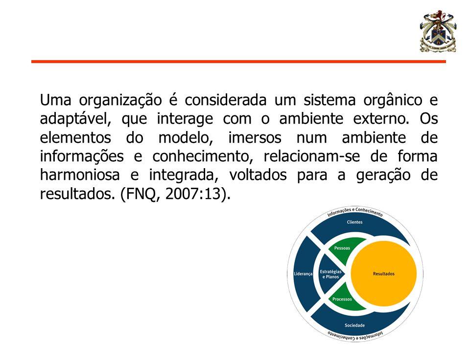 Uma organização é considerada um sistema orgânico e adaptável, que interage com o ambiente externo.