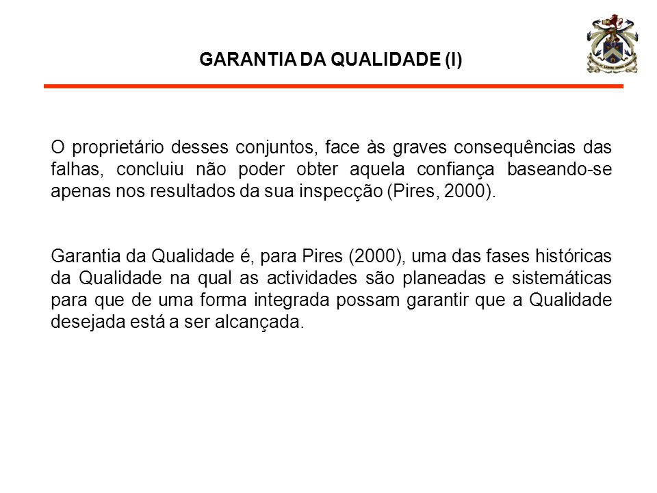 GARANTIA DA QUALIDADE (I)