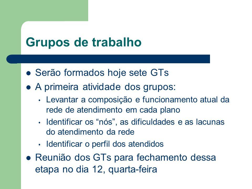 Grupos de trabalho Serão formados hoje sete GTs