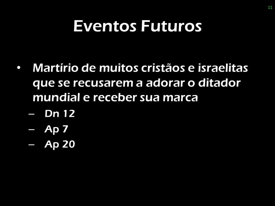 Eventos Futuros Martírio de muitos cristãos e israelitas que se recusarem a adorar o ditador mundial e receber sua marca.