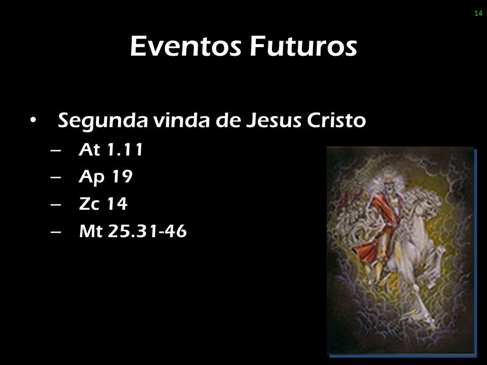 Eventos Futuros Segunda vinda de Jesus Cristo At 1.11 Ap 19 Zc 14