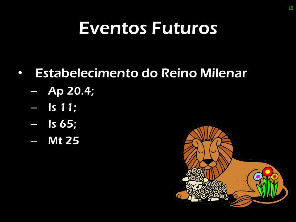 Eventos Futuros Estabelecimento do Reino Milenar Ap 20.4; Is 11;